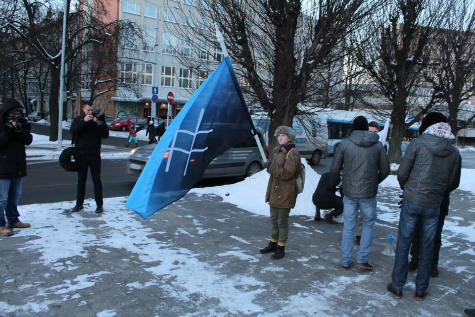 Sinine Äratus protestis välisministeeriumi ees piirilepingu vastu